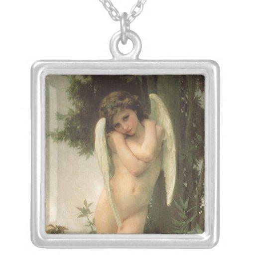 Vintage Victorian Angel Art, Cupid by Bouguereau Square Pendant Necklace