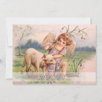 Vintage Victorian Angel Lamb Meadow Memorial Death Announcement