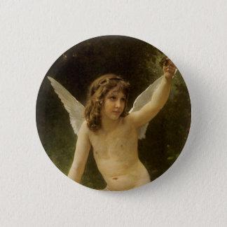 Vintage Victorian Angel, Prisoner by Bouguereau Pinback Button