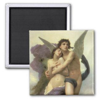 Vintage Victorian Angel, Ravishment by Bouguereau 2 Inch Square Magnet