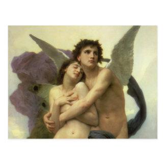 Vintage Victorian Angel, Ravishment by Bouguereau Postcard