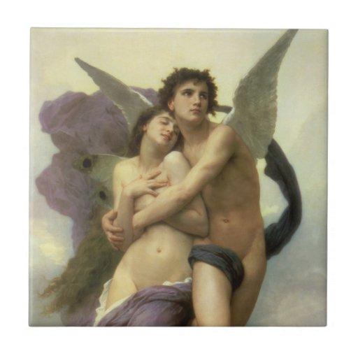 Vintage Victorian Angel, Ravishment by Bouguereau Small Square Tile
