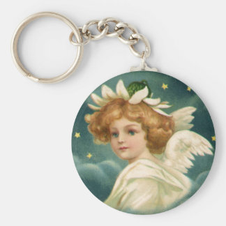 Vintage Victorian Angelic Christmas Angel, Stars Keychain