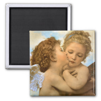 Vintage Victorian Angels, First Kiss by Bouguereau 2 Inch Square Magnet