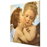 Vintage Victorian Angels, First Kiss by Bouguereau Canvas Print
