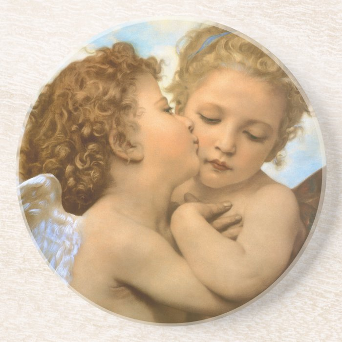 Vintage Victorian Angels, First Kiss by Bouguereau Coaster