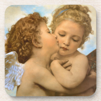 Vintage Victorian Angels, First Kiss by Bouguereau Drink Coaster