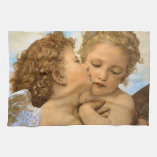 Vintage Victorian Angels, First Kiss by Bouguereau Hand Towel