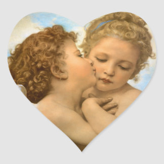 Vintage Victorian Angels, First Kiss by Bouguereau Heart Sticker