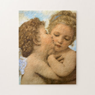 Vintage Victorian Angels, First Kiss by Bouguereau Jigsaw Puzzle