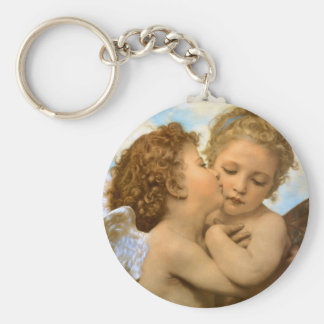Vintage Victorian Angels, First Kiss by Bouguereau Basic Round Button Keychain