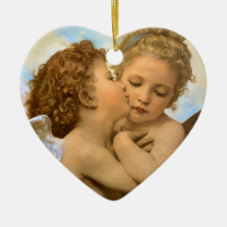 Vintage Victorian Angels, First Kiss by Bouguereau Double-Sided Heart Ceramic Christmas Ornament