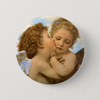 Vintage Victorian Angels, First Kiss by Bouguereau Pinback Button