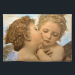 """Vintage Victorian Angels, First Kiss by Bouguereau Placemat<br><div class=""""desc"""">The First Kiss, angels detail (1890) by Bouguereau. A vintage Victorian mythology fine art realist religious portrait painting. Two angels, one kissing the other on the cheek. Although the correct title of the painting is L&#39;Amour et Psych&#233;, Enfants, it was incorrectly titled Le Premier Baiser (The First Kiss) and the...</div>"""
