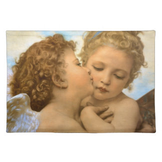 Vintage Victorian Angels, First Kiss by Bouguereau Cloth Placemat