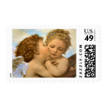 Vintage Victorian Angels, First Kiss by Bouguereau Postage Stamp