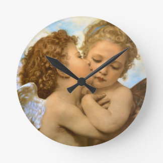 Vintage Victorian Angels, First Kiss by Bouguereau Round Clock