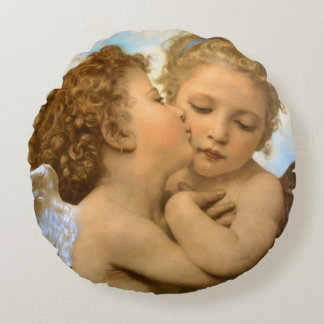Vintage Victorian Angels, First Kiss by Bouguereau Round Pillow