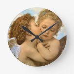 Vintage Victorian Angels, First Kiss by Bouguereau Round Wall Clocks
