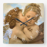 Vintage Victorian Angels, First Kiss by Bouguereau Square Wall Clocks
