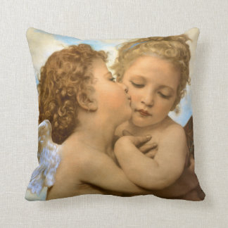 Vintage Victorian Angels, First Kiss by Bouguereau Throw Pillow