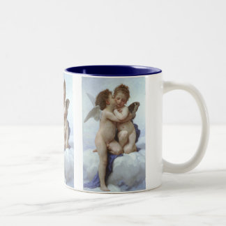 Vintage Victorian Angels, First Kiss by Bouguereau Two-Tone Coffee Mug