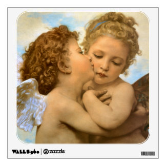 Vintage Victorian Angels, First Kiss by Bouguereau Wall Sticker