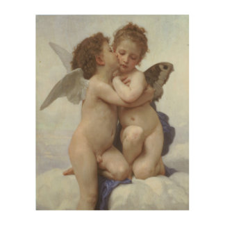 Vintage Victorian Angels, First Kiss by Bouguereau Wood Wall Art