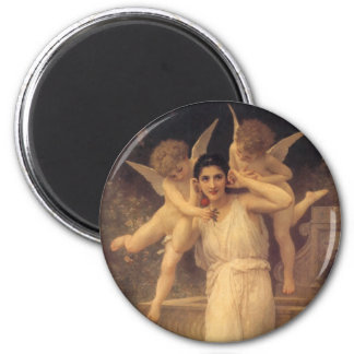Vintage Victorian Angels, Youth by Bouguereau 2 Inch Round Magnet