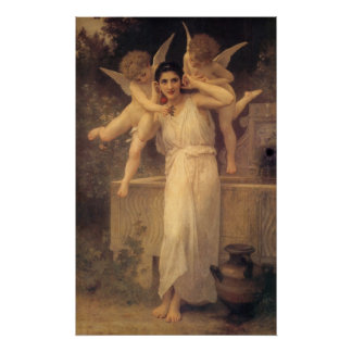 Vintage Victorian Angels, Youth by Bouguereau Poster