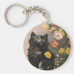 Vintage Victorian Animals, Cute Cat Kitten Flowers Keychain