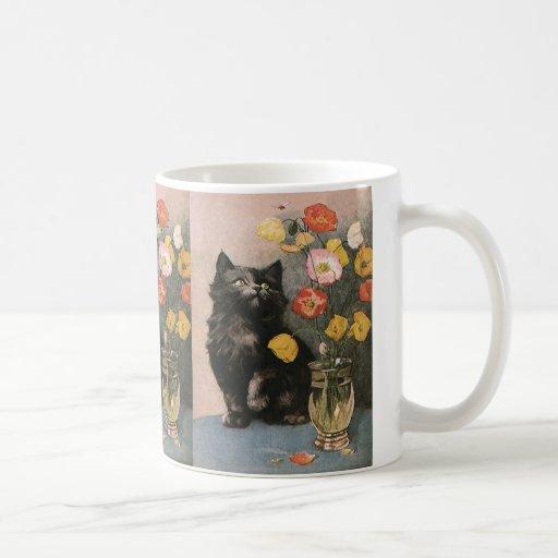 Vintage Victorian Animals, Cute Cat Kitten Flowers Coffee Mugs