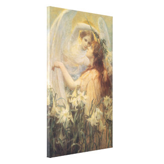 Vintage Victorian Art Angel's Message by Swinstead Canvas Print