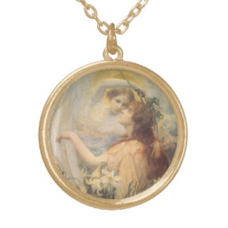 Vintage Victorian Art Angel's Message by Swinstead Gold Plated Necklace