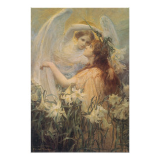 Vintage Victorian Art Angel's Message by Swinstead Poster