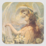 Vintage Victorian Art Angel's Message by Swinstead Square Sticker