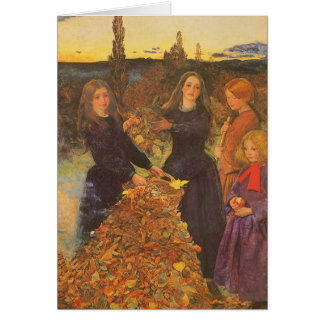 Vintage Victorian Art, Autumn Leaves by Millais Card