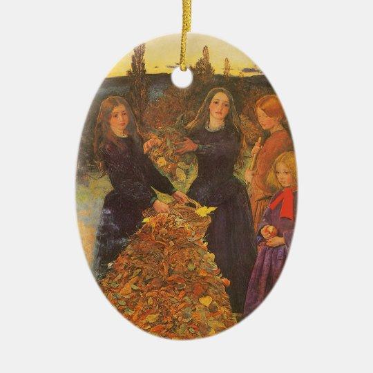 Vintage Victorian Art, Autumn Leaves by Millais Ceramic Ornament