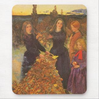 Vintage Victorian Art, Autumn Leaves by Millais Mouse Pad