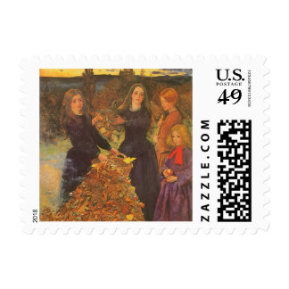 Vintage Victorian Art, Autumn Leaves by Millais Postage