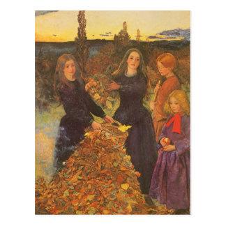 Vintage Victorian Art, Autumn Leaves by Millais Postcard