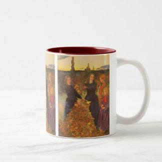 Vintage Victorian Art, Autumn Leaves by Millais Two-Tone Coffee Mug