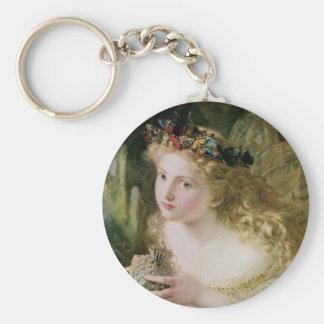 Vintage Victorian Art, Beautiful Fairy Butterflies Basic Round Button Keychain