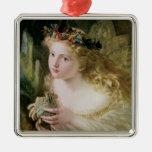 Vintage Victorian Art, Beautiful Fairy Butterflies Square Metal Christmas Ornament
