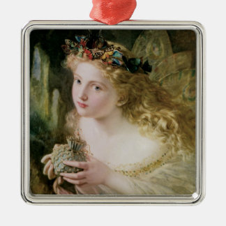 Vintage Victorian Art, Beautiful Fairy Butterflies Square Metal Christmas Ornament