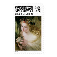 Vintage Victorian Art, Beautiful Fairy Butterflies Postage Stamps