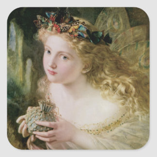 Vintage Victorian Art, Beautiful Fairy Butterflies Square Sticker