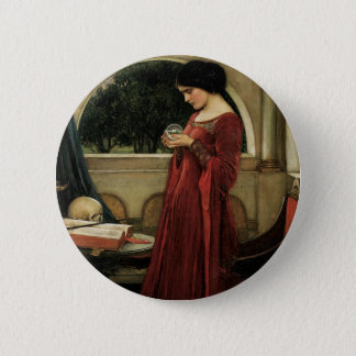 Vintage Victorian Art, Crystal Ball by Waterhouse Pinback Button