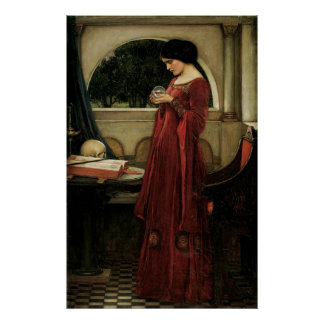 Vintage Victorian Art, Crystal Ball by Waterhouse Poster