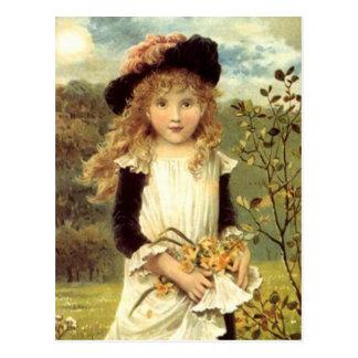 Vintage Victorian Art Daffodil Collector Girl Postcard